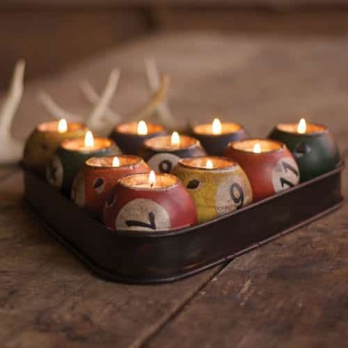 Repurposed Tin Pool Ball Candle Holder Set Accessories