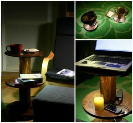 Upcycled Cable Spool Into Table With LED