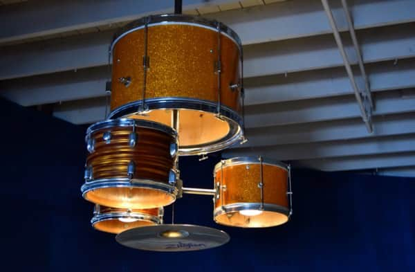 Drum Kit Upcycled into Chandelier Lamps & Lights
