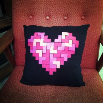 Upcycled thrift store T-shirt into pillow cover