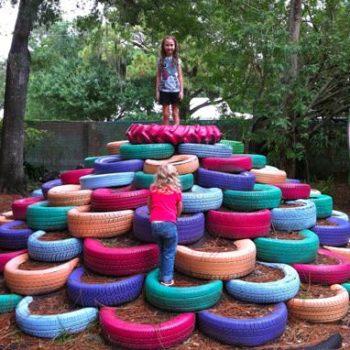 Tire pile playground in Sarasota children's garden