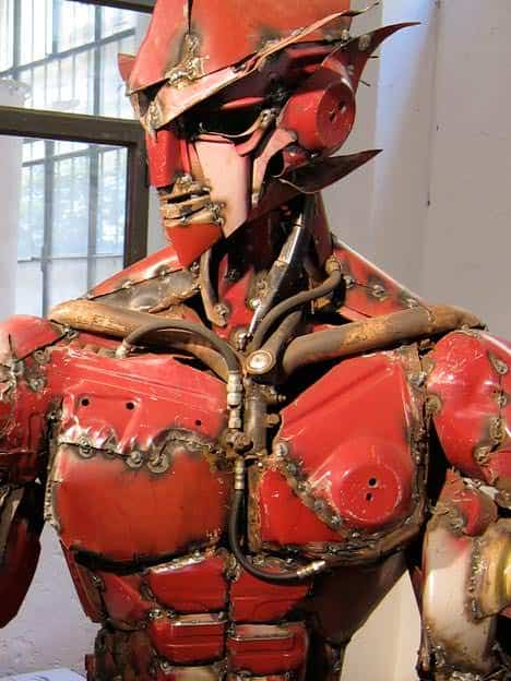 The real Transformer: made from an old car in art metals  with Sculpture Recycled Art car