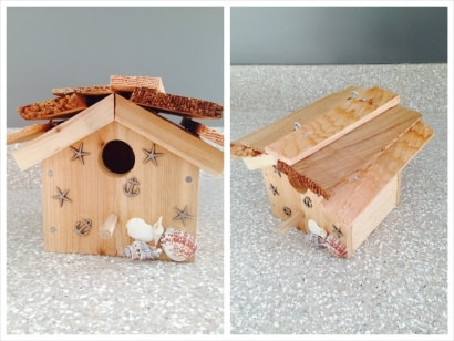 Recycled cedar panels made into beautiful birdhouses!