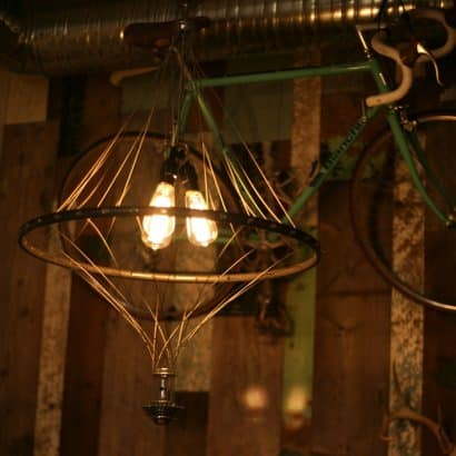 Vintage Bike Wheel Chandelier