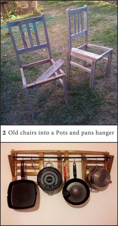 Old chairs into pots & pans hanger