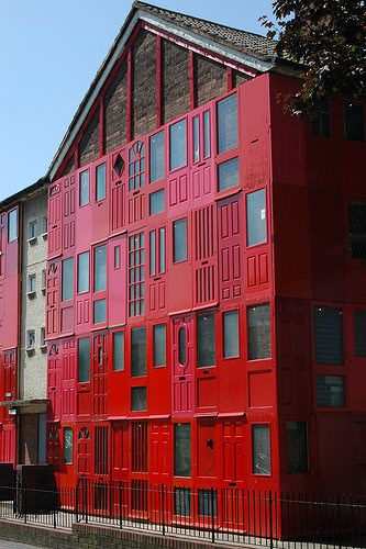Red house with salvaged doors in Liverpool in architecture  with Salvaged House