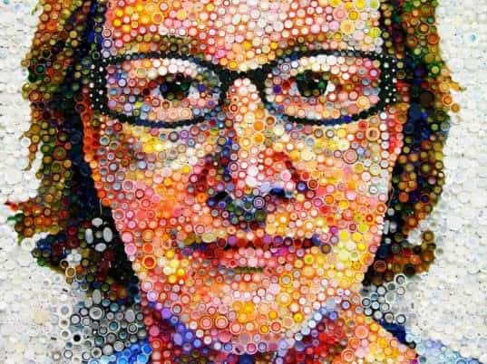 Bottle Caps Portrait in art  with Recycled Art Recycled Portrait Caps