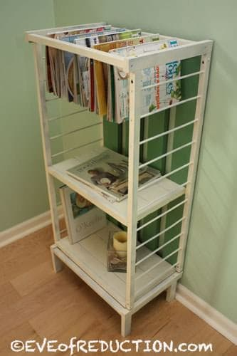 Small Crib Gets Upcycled into a Shelf Unit