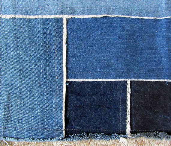 Denim patchwork rug in fabric  with patchwork jeans Fabric denim