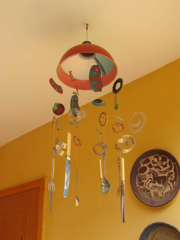 Wind chimes from recycled metal objects in metals  with Recycled Art Metal Cutlery Beads