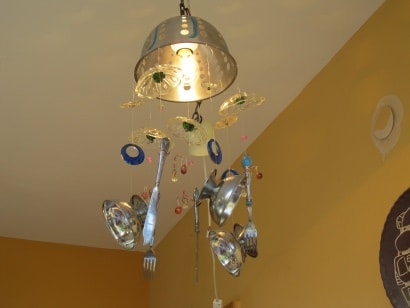 Wind chimes from recycled metal objects