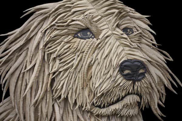 Dog Portrait from Corrugated Cardboard by Ali Golzad in art cardboard  with Recycled Art Recycled Portrait Dog Cardboard