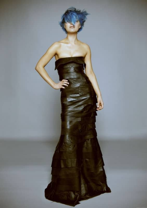 Recycled leather jacket into evening gown in fabric  with trashion leather fashion Dress DIY