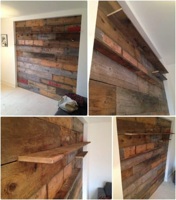 Pallets Wall in pallets 2  with wall Shelves Pallets
