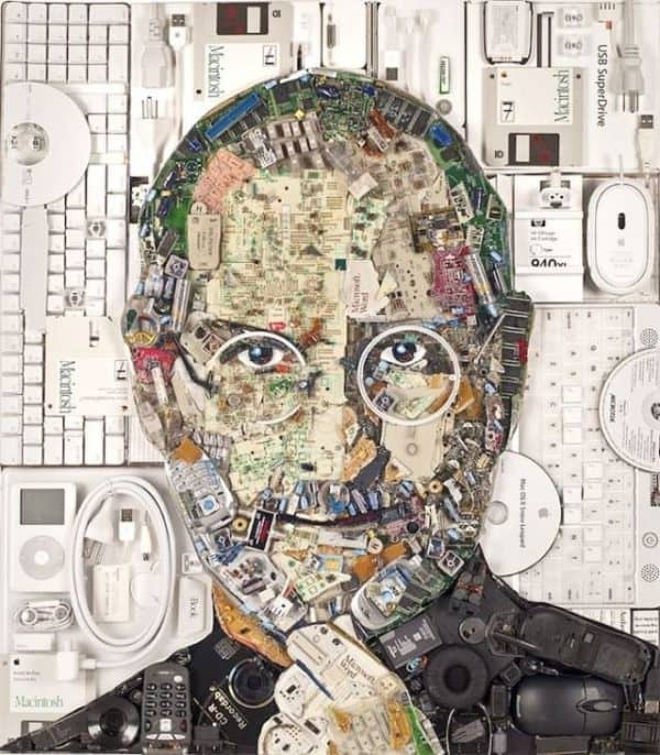Steve Jobs Portrait from E-Waste Recycled Art Recycled Electronic Waste