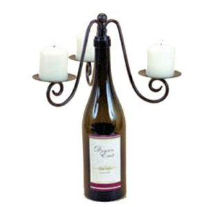 Triple-Pillar-Votive-Wine-Bottle-Stopper-Candelabra-Candle-Holder-for-Three-Votive-Candles-Metal-with-Bronze-Finish-0