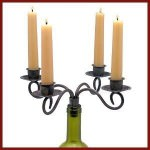 Wine-Bottle-Stopper-Taper-Candle-Candleabra-Black-Scroll-4-Arms-0