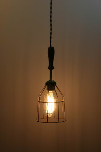Wood Handle Industrial Hanging Pendant Light With Vintage