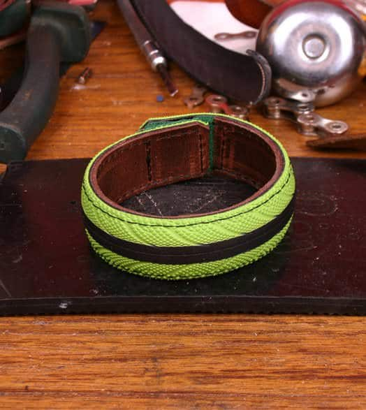 Bracelets From Colorful Upcycled Bicycle Tires Accessories Upcycled Bicycle Parts