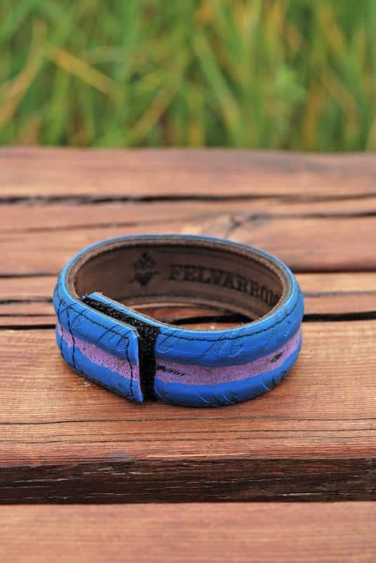 Bracelets from colorful bicycle tires in bike friends accessories  with Upcycled Tire sustainable recycle eco friendly eco Bracelet Bike