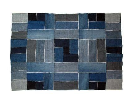 Denim patchwork rug
