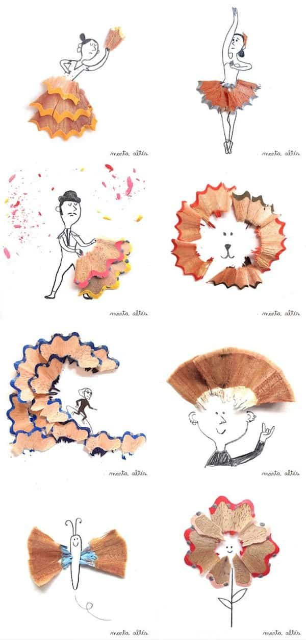 Creative Pencil Shaving Art Recycled Art