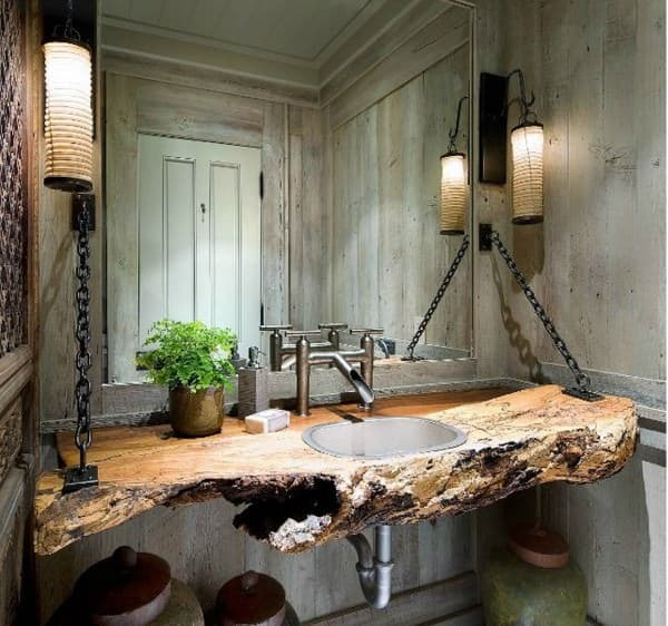 Wood Log As Bathroom Sink Wood & Organic