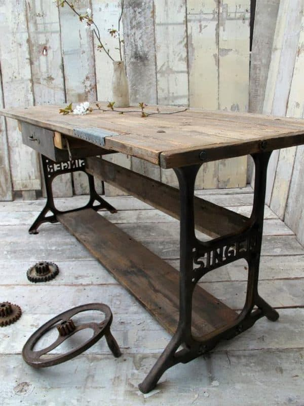 Vintage Sewing Machines recycled into dining tables:
