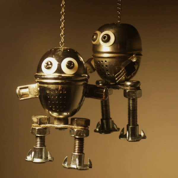 Diversion of tea balls in art metals  with Sculpture Robot Recycled Art Recycled Metal kitchenware Assemblage