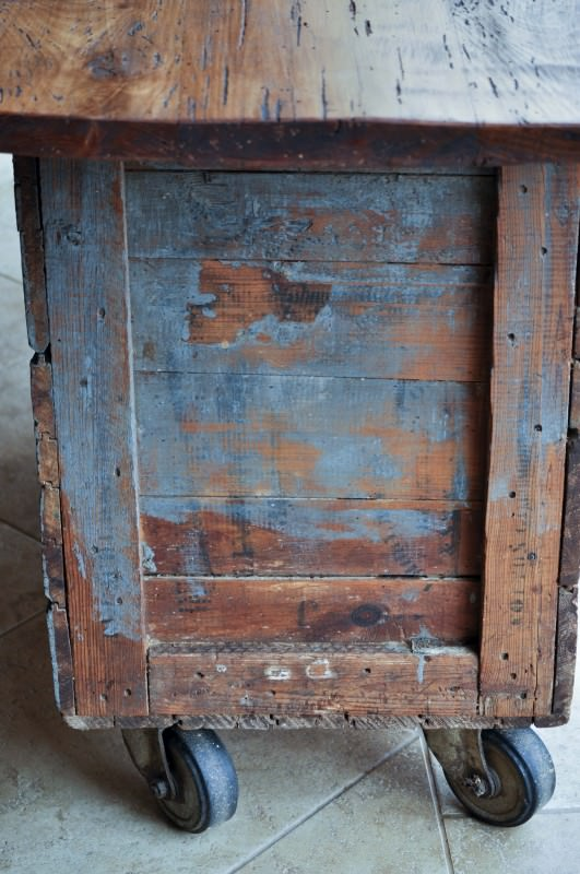 Vintage Tobacco Crate Upcycled into Wheeled Kitchen Island Recycled Furniture Wood & Organic