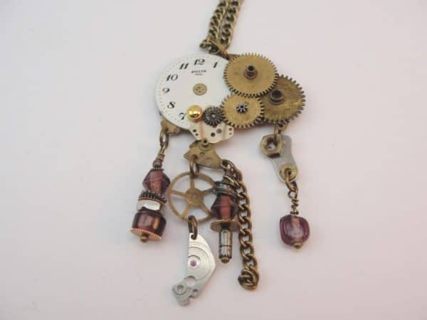 4kette2 600x450 Jewelry made from old watches in jewelry with steampunk Jewelry