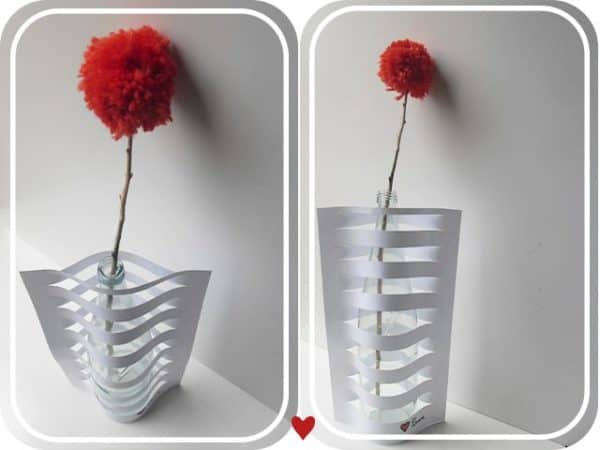 Vase Made from Glass Bottle and Paper Do-It-Yourself Ideas
