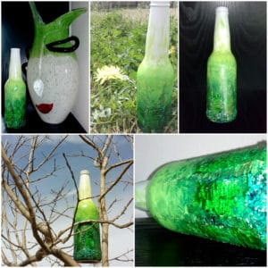 Go Green – Upcycled beer bottle abstract art