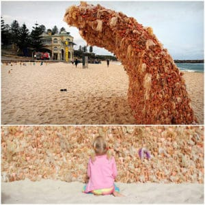 Barbie dolls wave sculpture