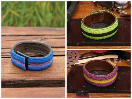 Bracelets From Colorful Upcycled Bicycle Tires