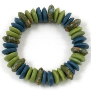 Recycled-Glass-Stretchy-Elliptical-Bracelet-Green-and-Blue-0