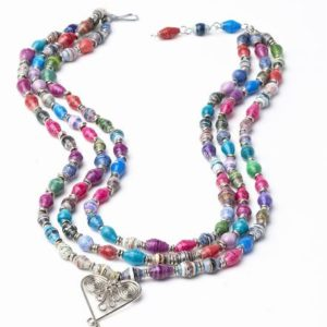 Recycled-Paper-Multi-Colored-Heart-Bead-Necklace-0