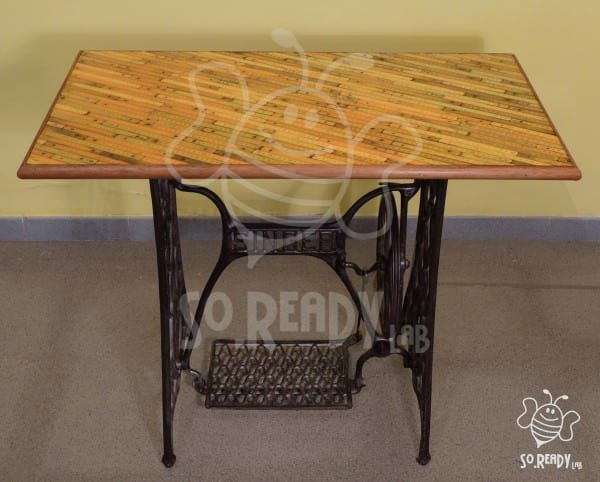 Folding Meters to Decorate a Sewing Machine Recycled Furniture
