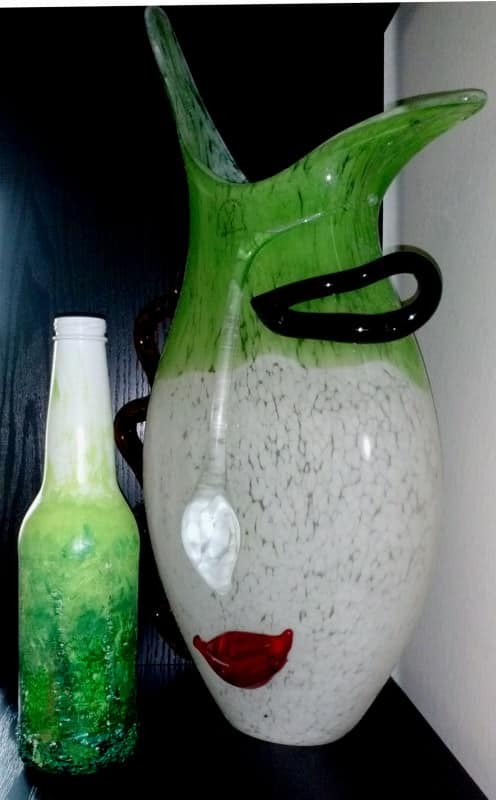 Go Green – Upcycled beer bottle abstract art in art glass  with Upcycled Recycled Art Recycled Green Glass Decoration Bottle