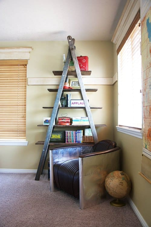 DIY Bookshelf Ladder in furniture diy  with ladder DIY Bookshelf