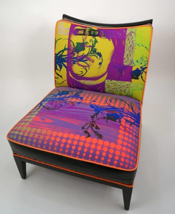 Mythic Electric Collection By Joann Berman in furniture  with Vintage upcycled furniture Repurposed Recycled Art Recycled Fabric Craft Chair