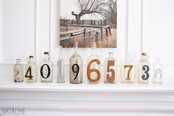 Numbered Glass Bottles Do-It-Yourself Ideas Recycled Glass