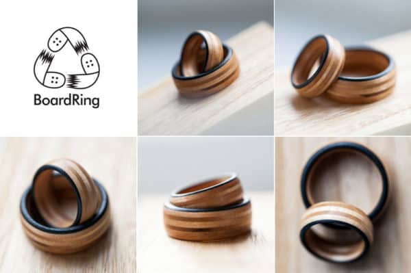 Boardring – Goods from Recycled Skateboards! Recycled Sports Equipment Upcycled Jewelry Ideas Wood & Organic