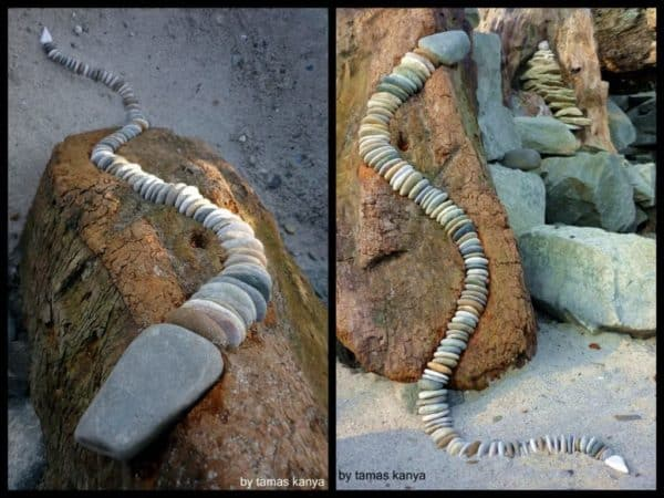 Driftwood and Stones art by Tamas Kanya in wood art  with Stone snake rock Recycled Art driftwood
