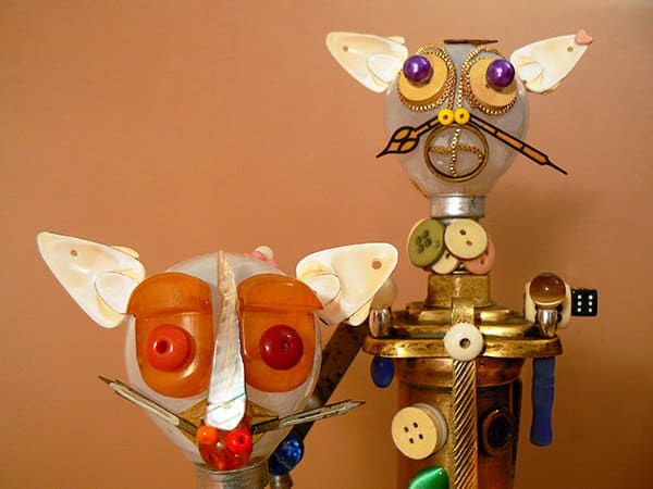 Artist Adoryanti makes funny looking sculptures of animals out of recycled materials in art  with Sculpture Recycled Art Recycled Animals