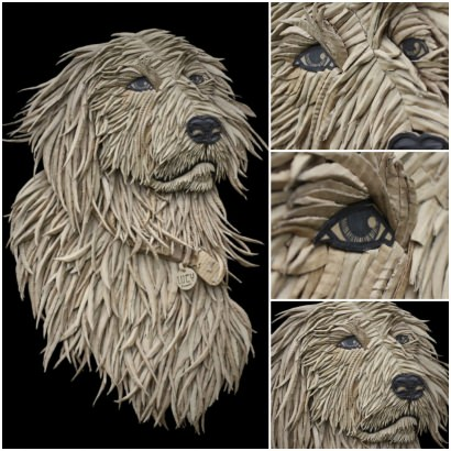 Dog Portrait from Corrugated Cardboard by Ali Golzad