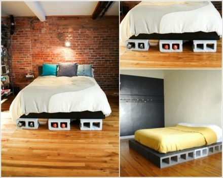 DIY Concrete Block Bedframe