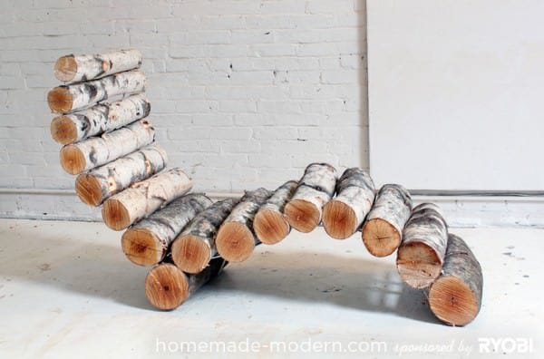 DIY: Wood Log Lounger in wood furniture  with Wood upcycled furniture Log Chair