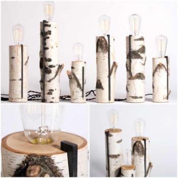 Repurposed wood log lamps