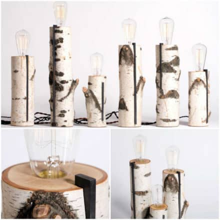 Repurposed wood log lamps